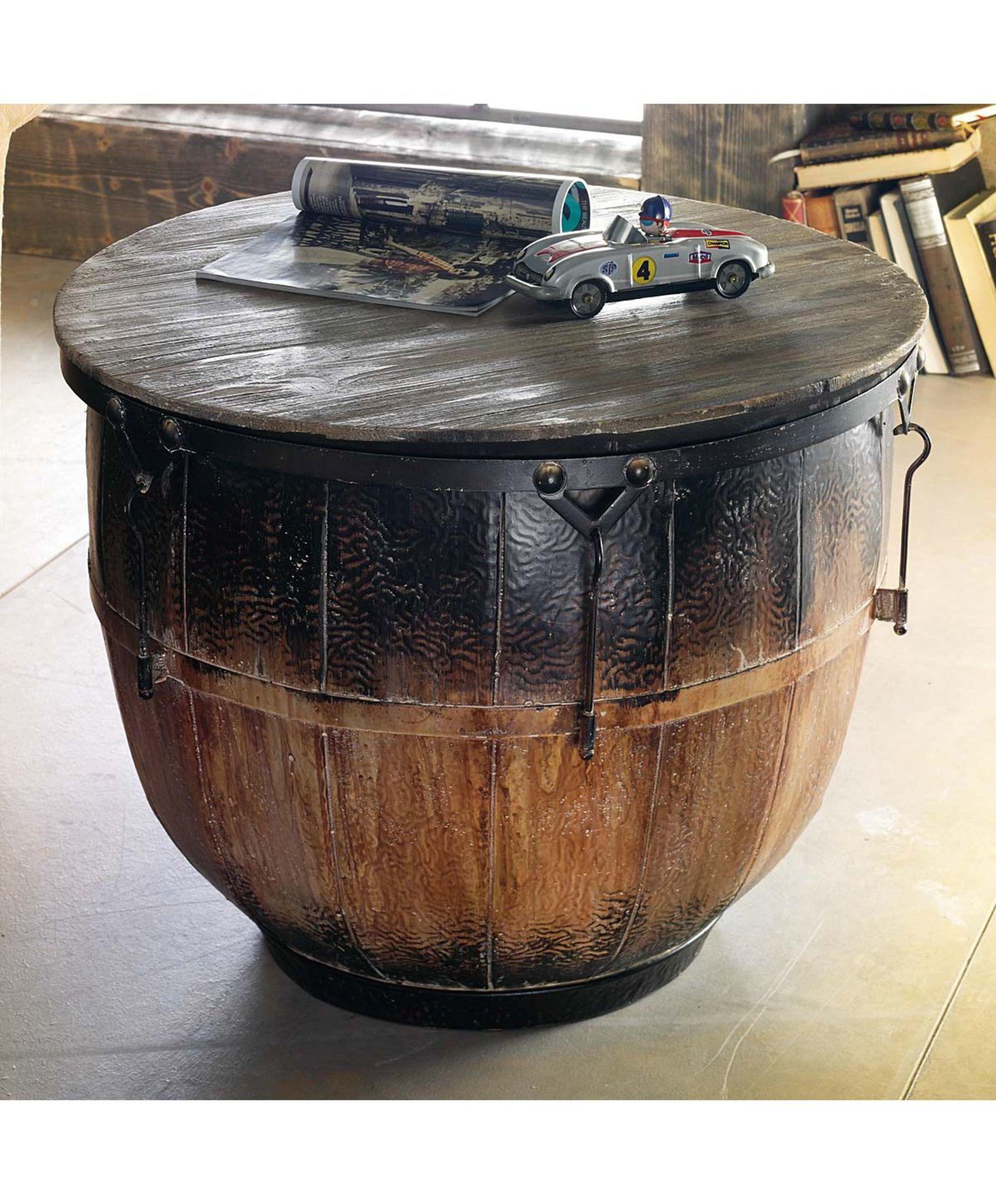 Couchtisch trommel wohnzimmertisch industrial chic for Beistelltisch industrial