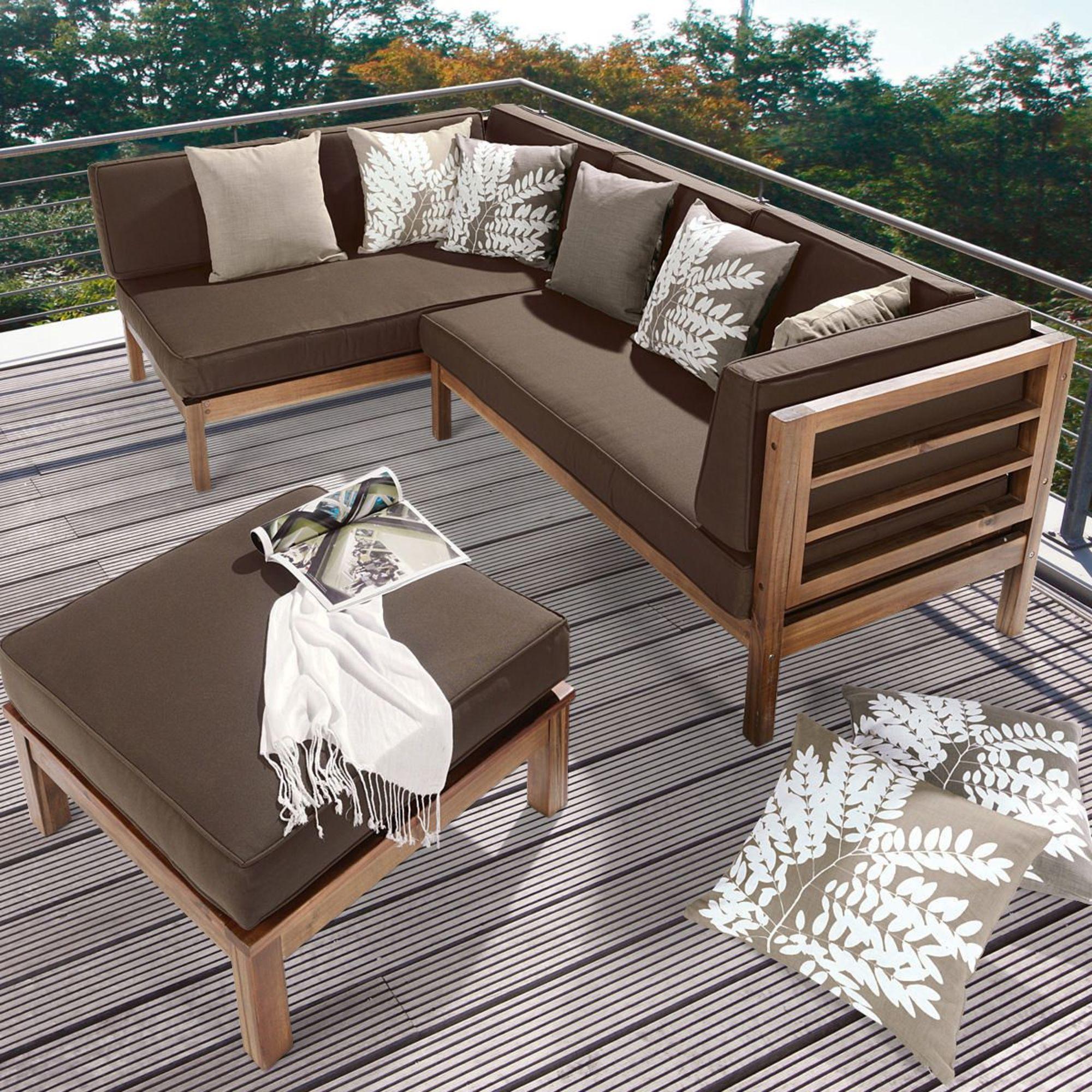 Gartenmöbel holz lounge  Ecklounge, 3-tlg. Natur, inkl. Auflagen