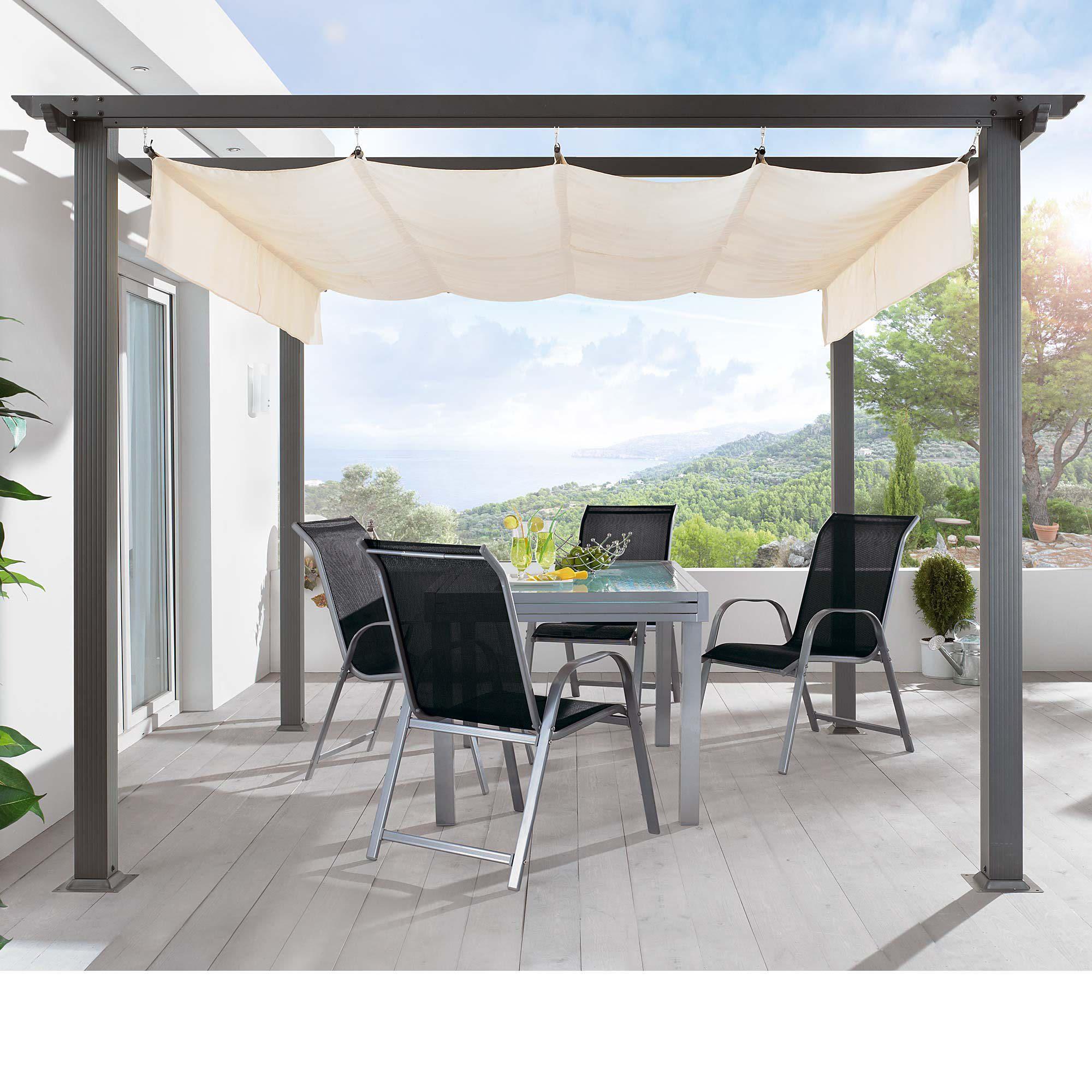 Design-pergola, Pulverbeschichtetes Aluminium, Dach: 100% Polyester Gemusegarten Auf Dem Dach