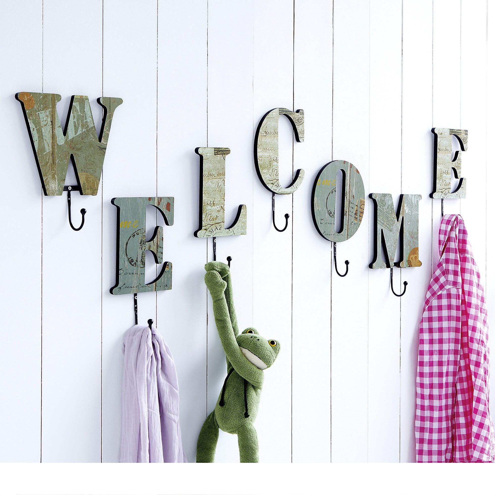 haken set welcome jackenhaken wandhaken garderobenhaken garderobe ebay. Black Bedroom Furniture Sets. Home Design Ideas