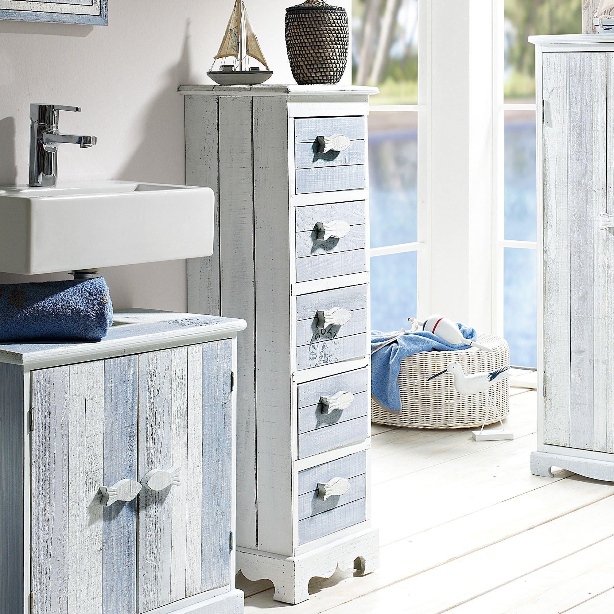 kommode hanse blau wei maritim badset badm bel badezimmer. Black Bedroom Furniture Sets. Home Design Ideas