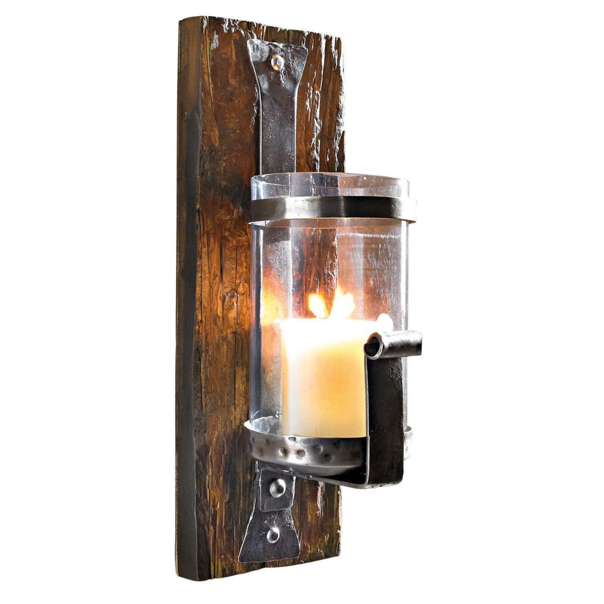 wand kerzenhalter wood aus pinienholz antik. Black Bedroom Furniture Sets. Home Design Ideas