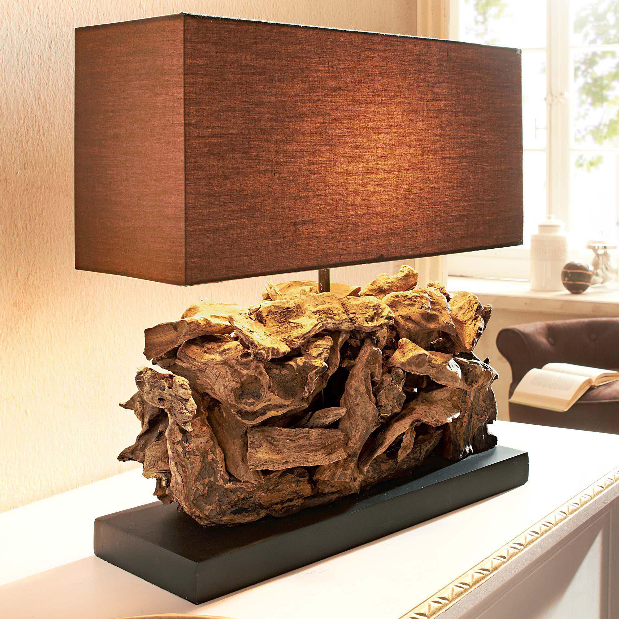 tischleuchte woody ii teakholzlampe tischlampe aus holz shabby chic design ebay. Black Bedroom Furniture Sets. Home Design Ideas