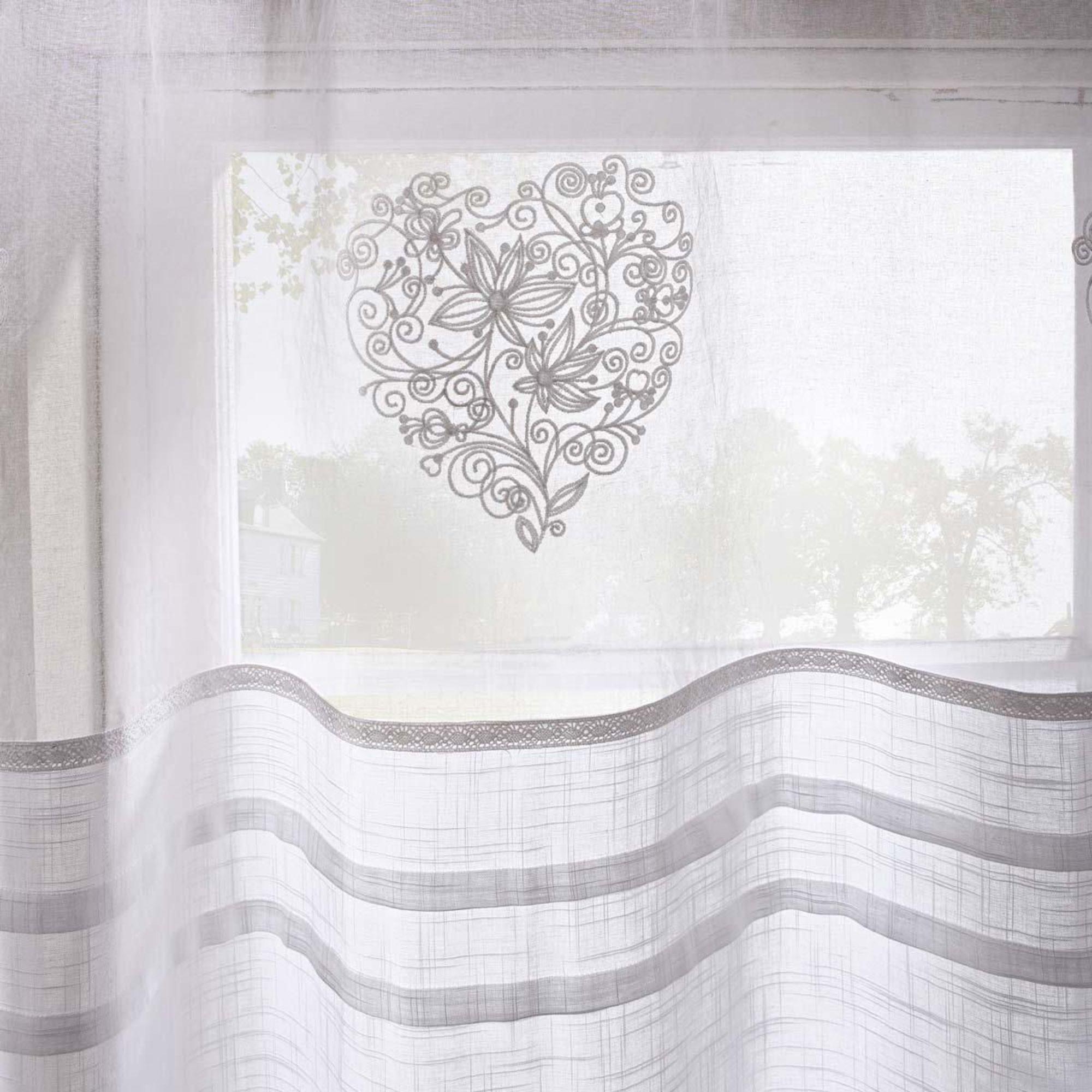 Vorhang Vanessa Bestickt Transparent 100 Baumwolle Ca 140 X 250 Cm