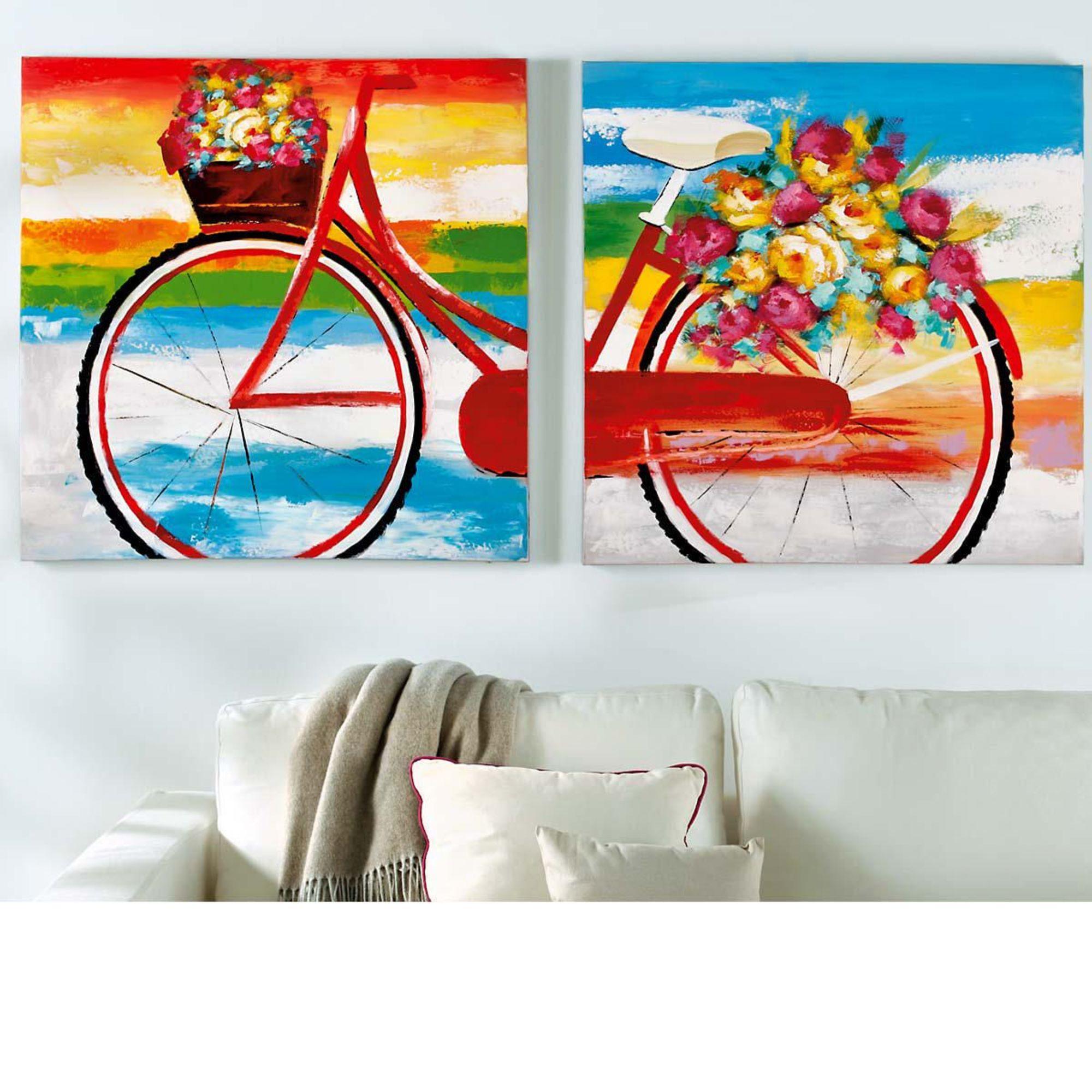 mehrteiliges buntes bild wandbild mit fahrrad aus. Black Bedroom Furniture Sets. Home Design Ideas