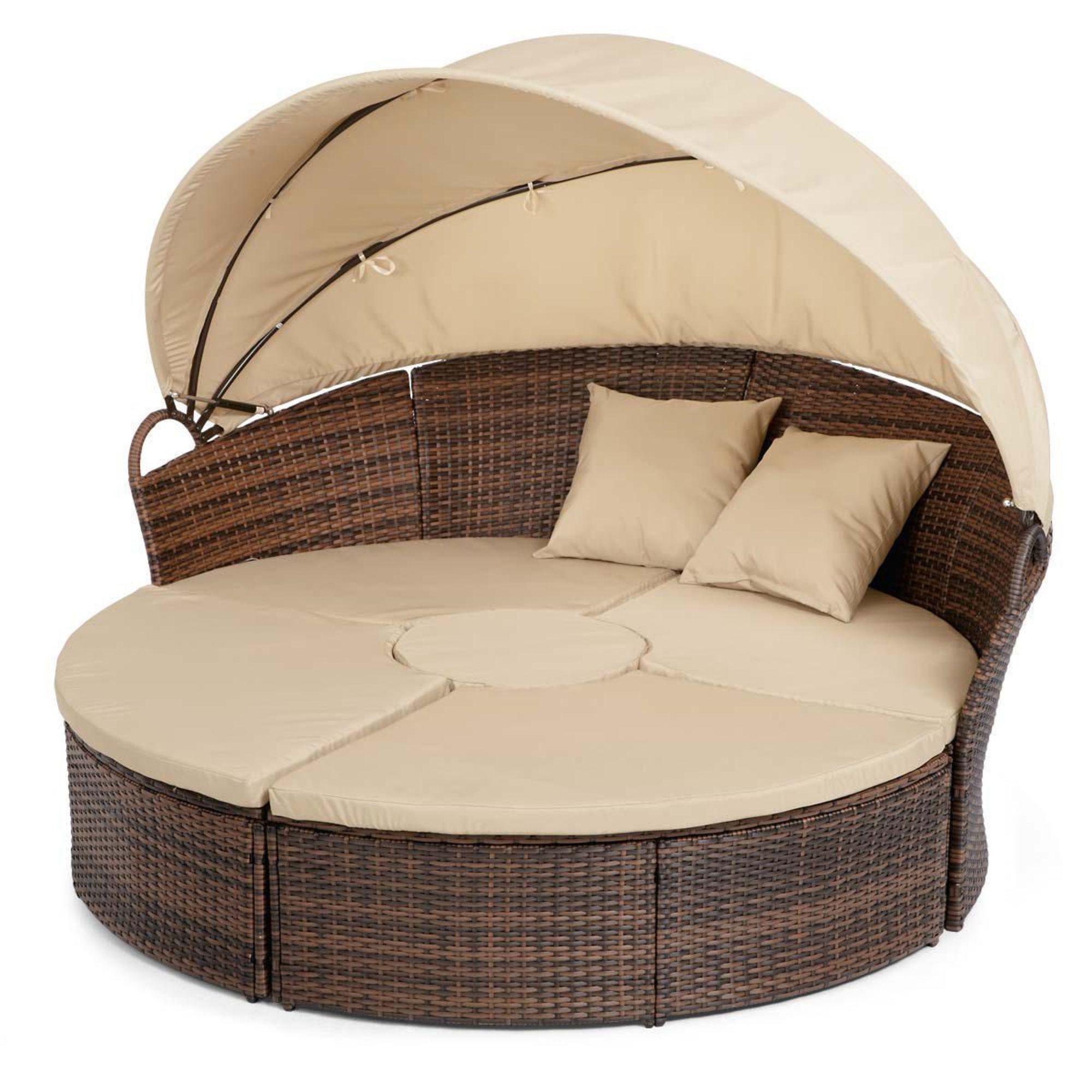runde sonneninsel sonnenliege mit sonnendach aus rattan in beige braun ebay. Black Bedroom Furniture Sets. Home Design Ideas
