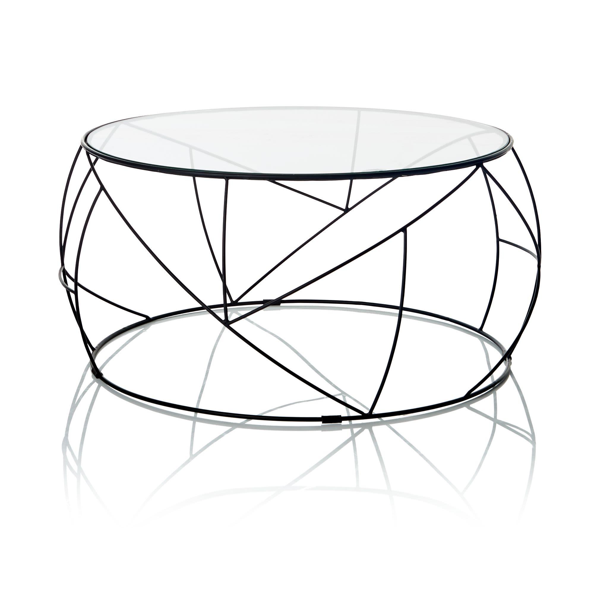 Couchtisch Glas Metall Design Rund Gehrtetes