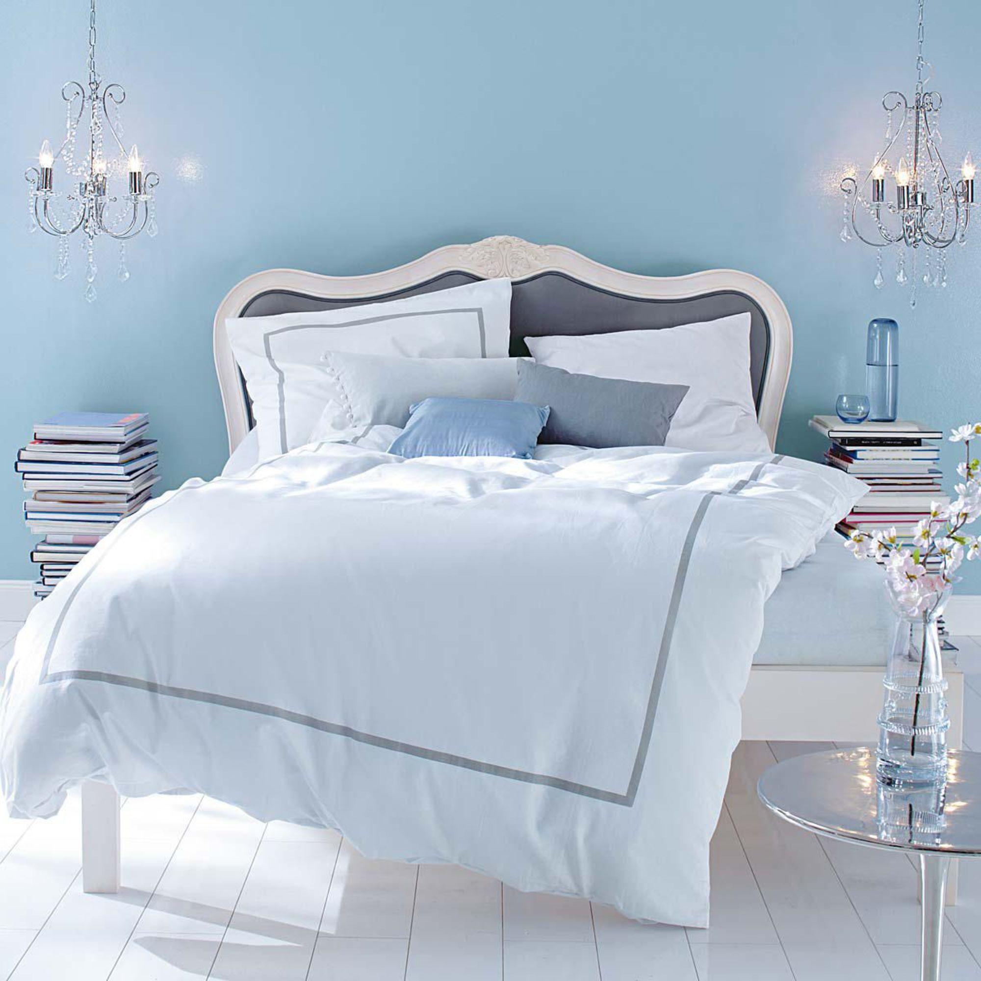 Bett, bezogener kopfteil, antik look, akazienholz und baumwolle