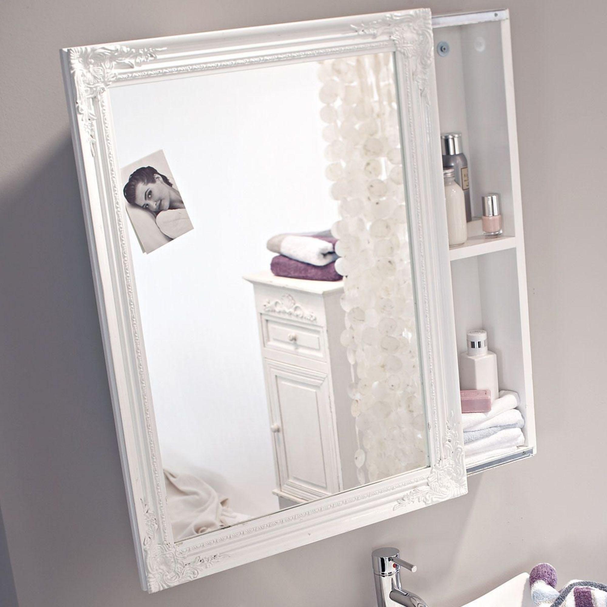 Spiegelschrank, Schiebetür, zwei Innenfächer, Romantik Look