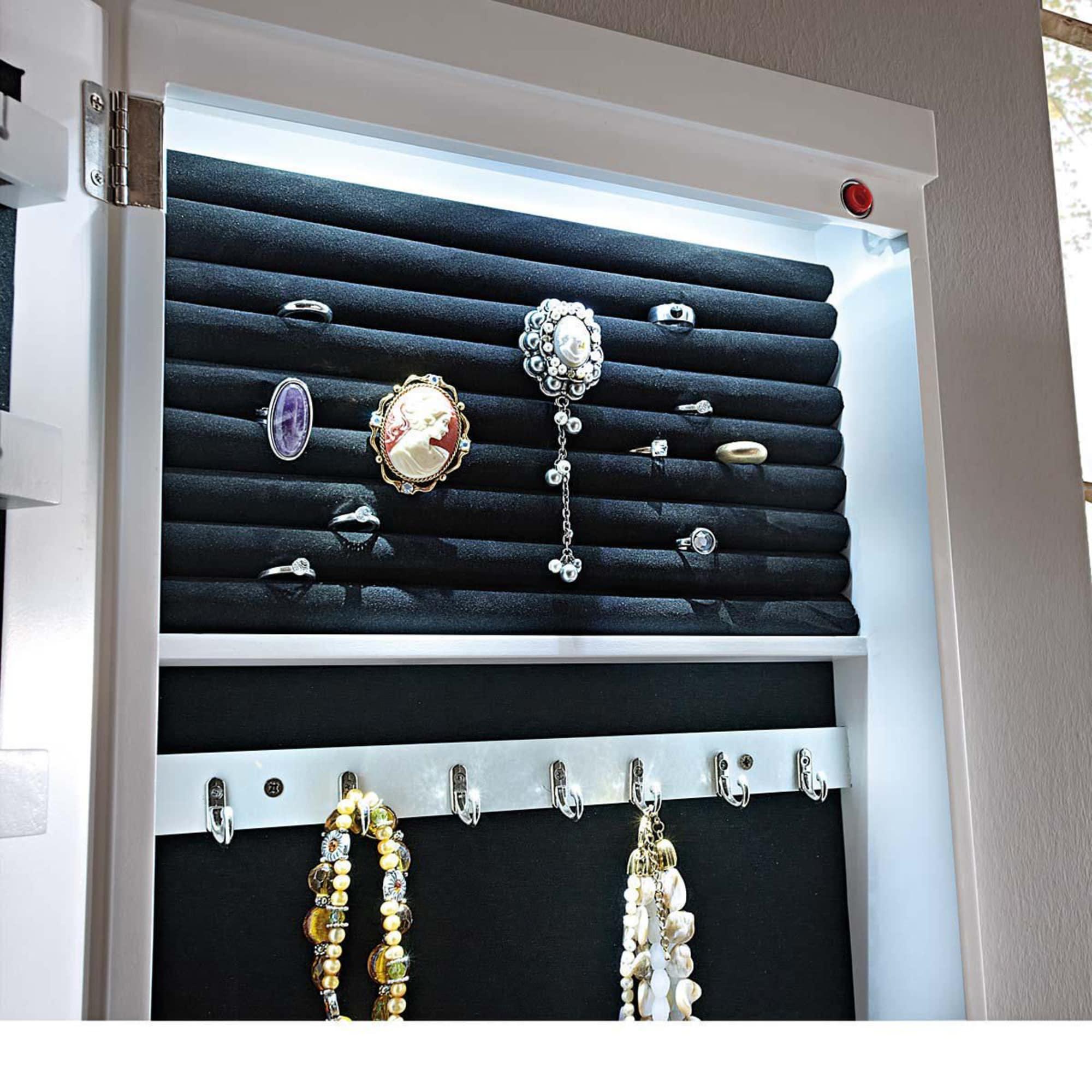 Schmuckschrank Spiegel, mit LED Beleuchtung, Holz