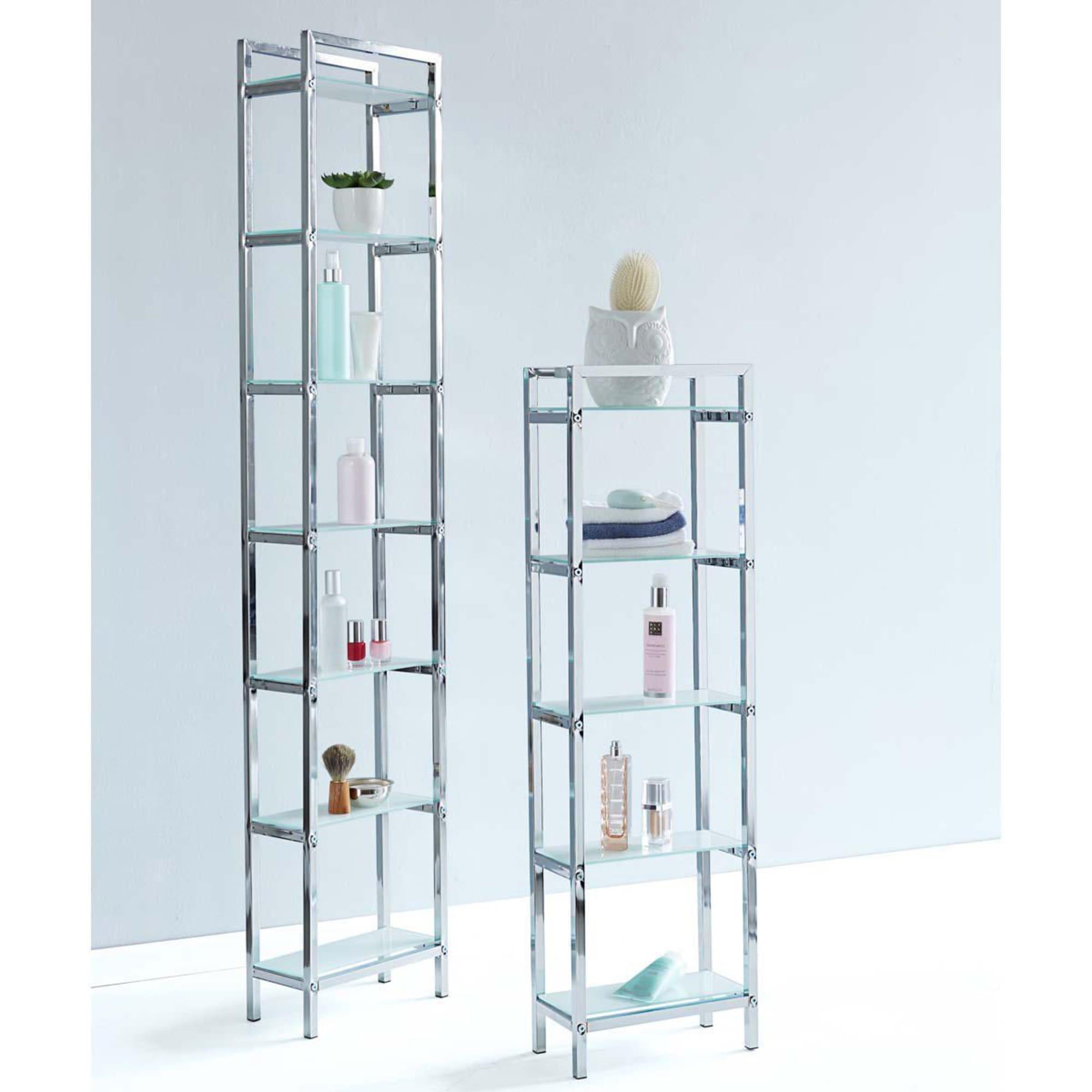 Regal Chrome, 7 Regalböden, Glas, Tiefe 15cm