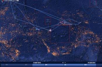 The blue line represents the satellite-tracked movements of the Central Pacific Fishing Company's vessel, which clearly enters the Phoenix Islands Protected Area indicated by the red box. © Global Fishing Watch