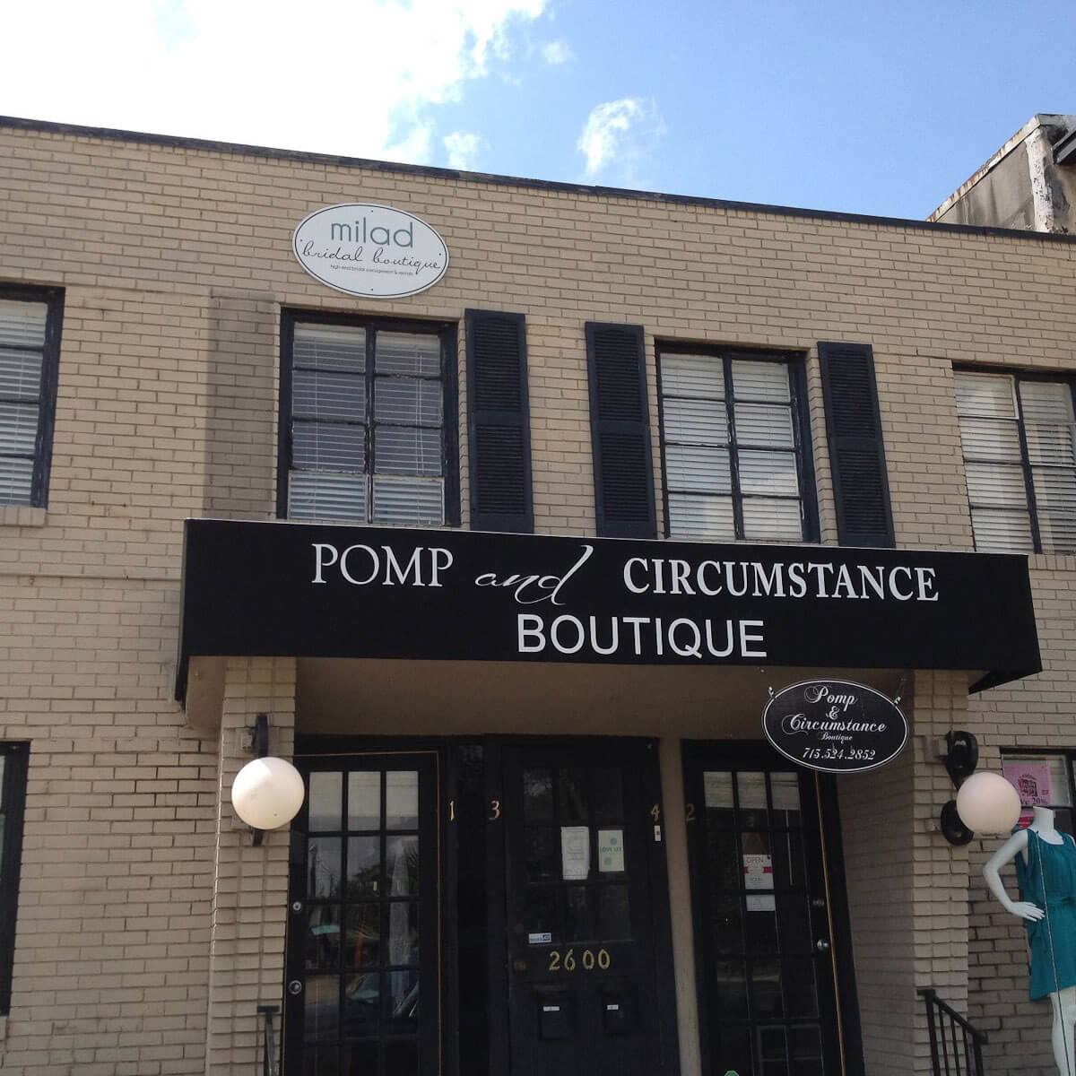 Pomp & Circumstance, boutique, store front, October 2012