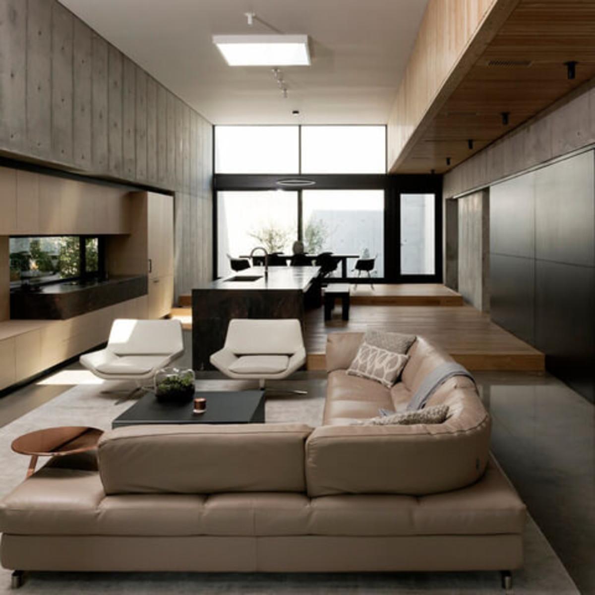 Houzz Houston house home Japanese-style concrete box living room