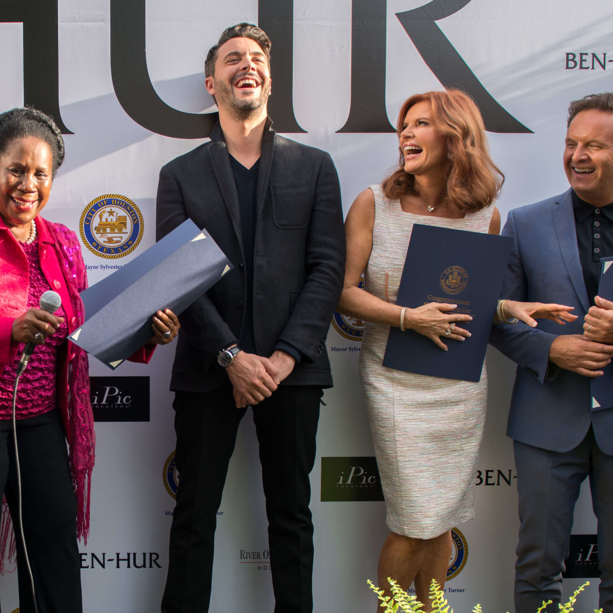 Ben-Hur premiere, Aug. 2016, Sheila Jackson Lee, Jack Huston, Roma Downey, Mark Burnett