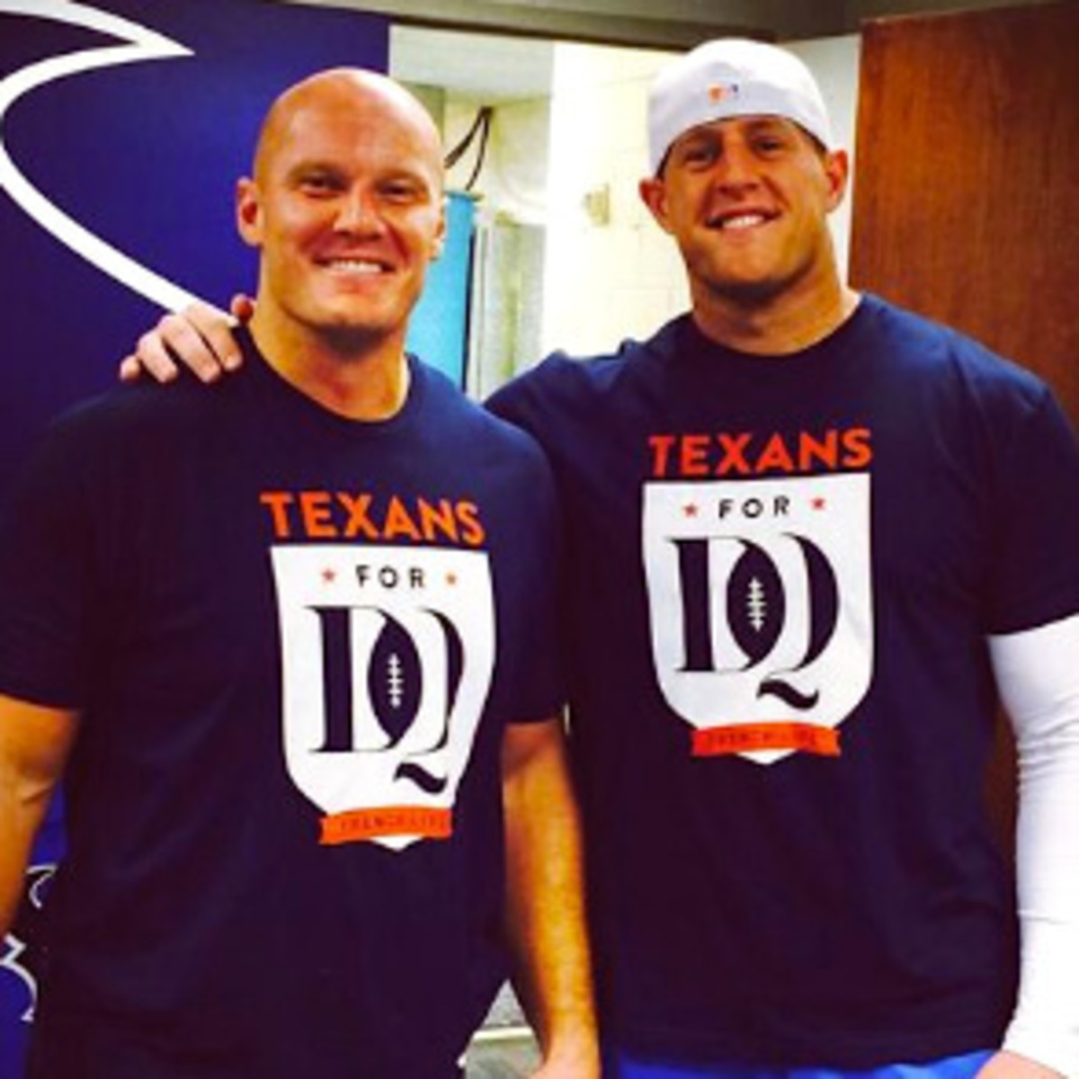 Houston, Running Game Clothing, September 2016, JJ Watt and Chris Myers in DQ Strong shirts