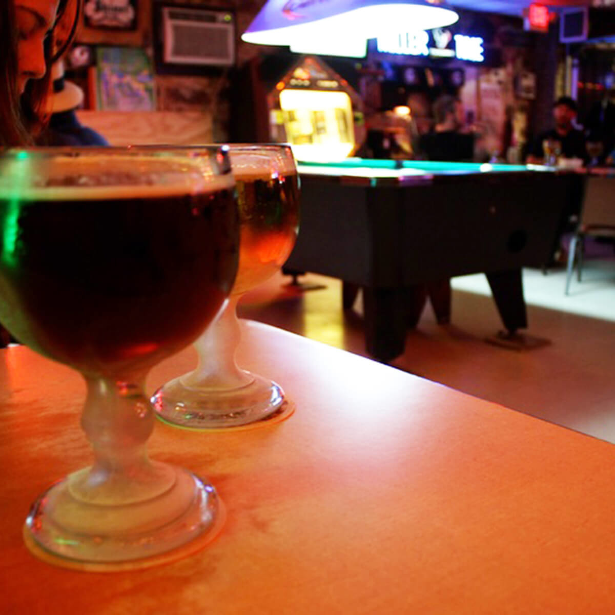 Beer, pool table