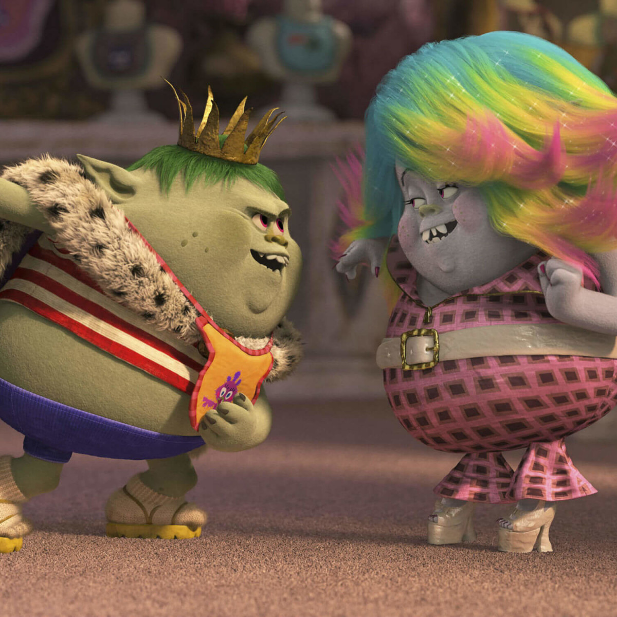 Christopher Mintz-Plasse and Zooey Deschanel in Trolls