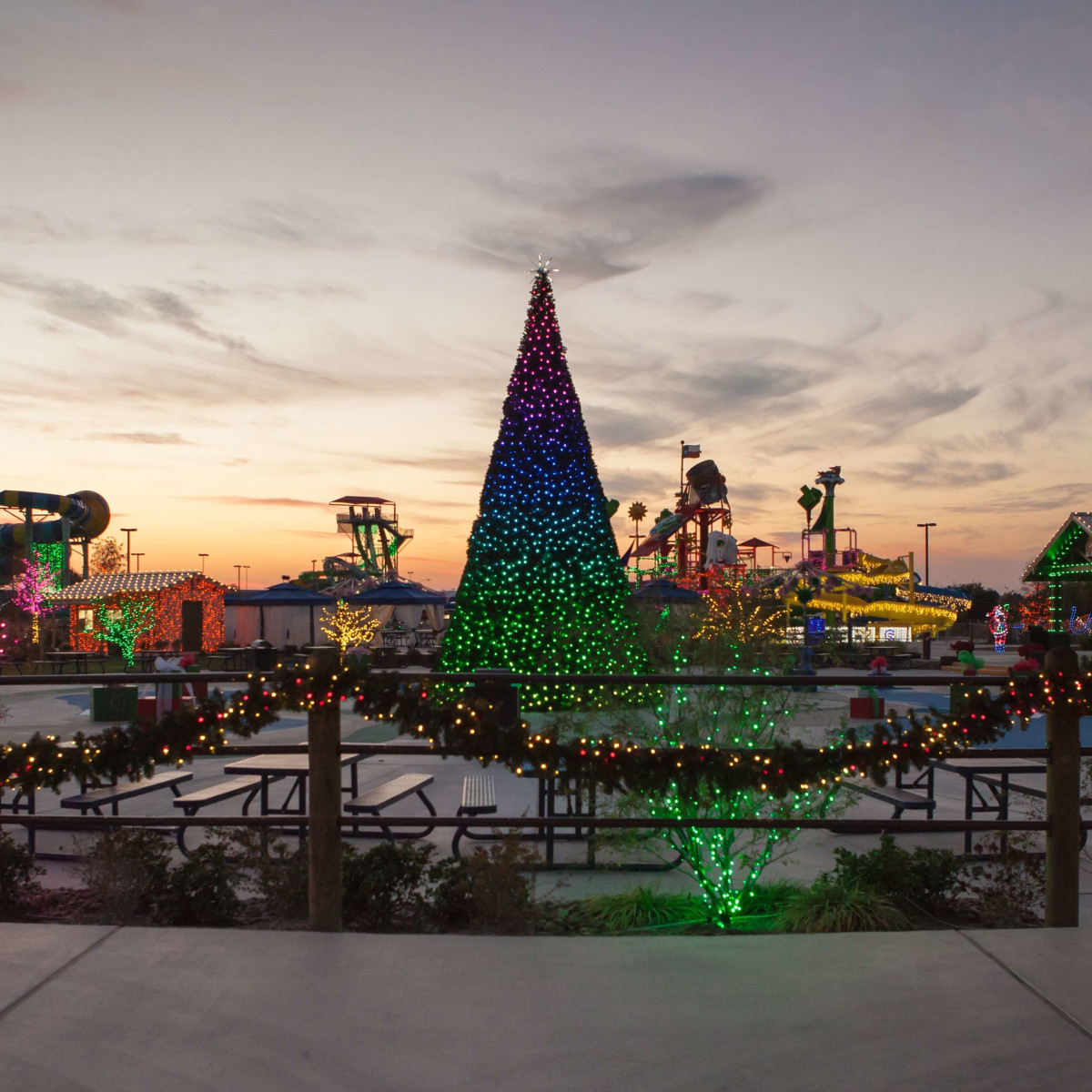 Texas Typhoon Winterfest Christmas tree at sunset