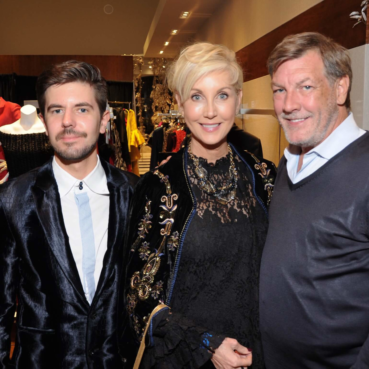 Lennart Kulke, Jerri Moore, Neal Hamil at Christian Siriano show at Elizabeth Anthony