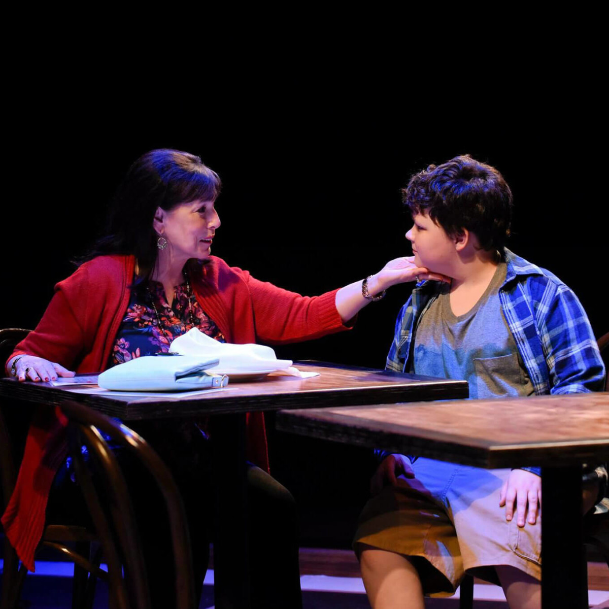 Lois Sonnier Hart and Alex Duva in The Big Meal at WaterTower Theatre