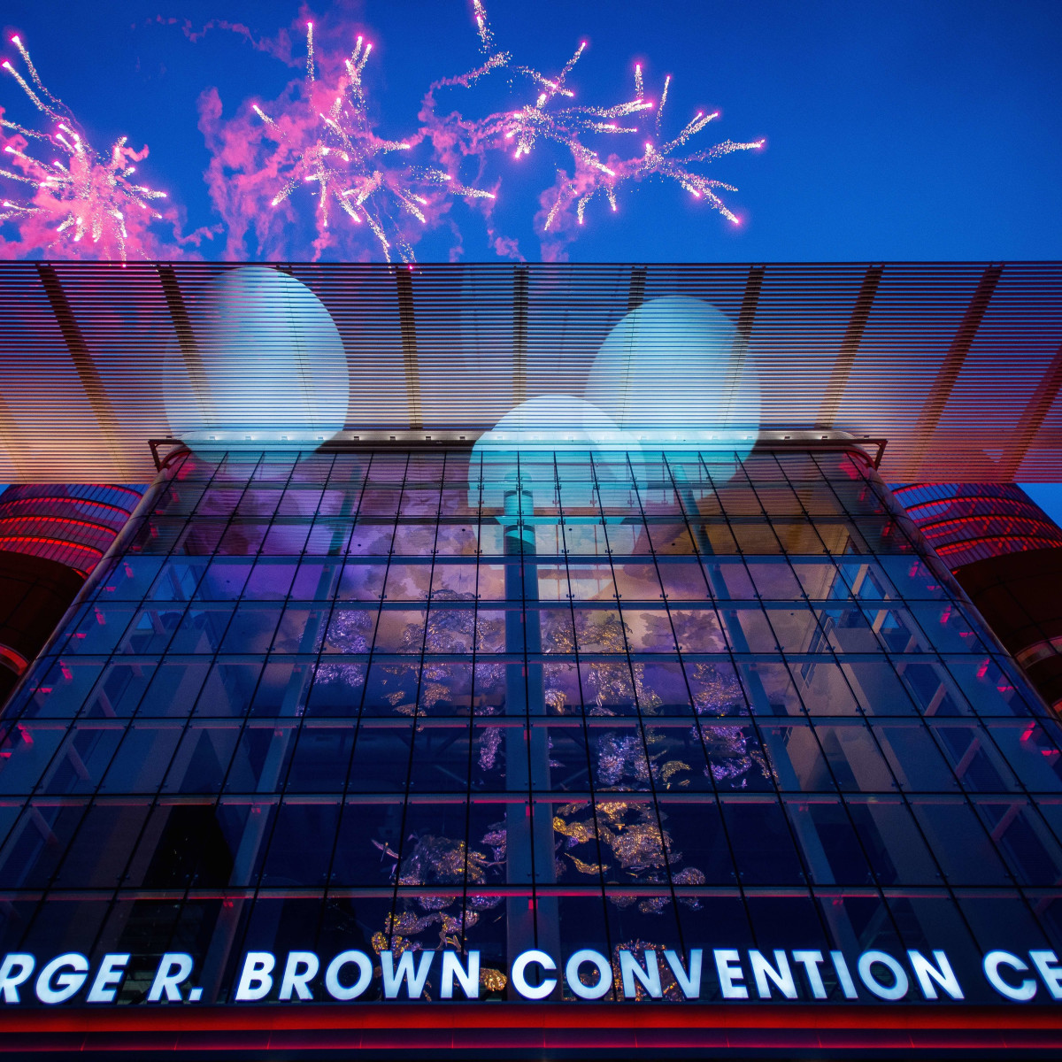 Fireworks over George R Brown Convention Center for Super Bowl 51 day kickoff