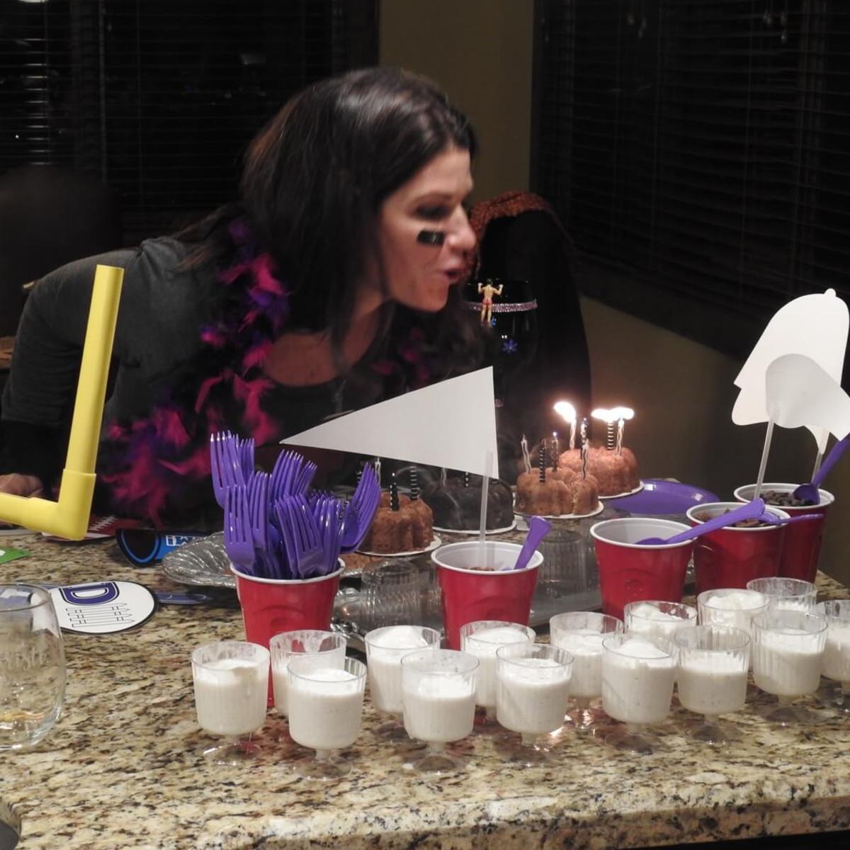 Laura Davenport celebrating birthday with a tailgate theme at Schatzman Sundance house party