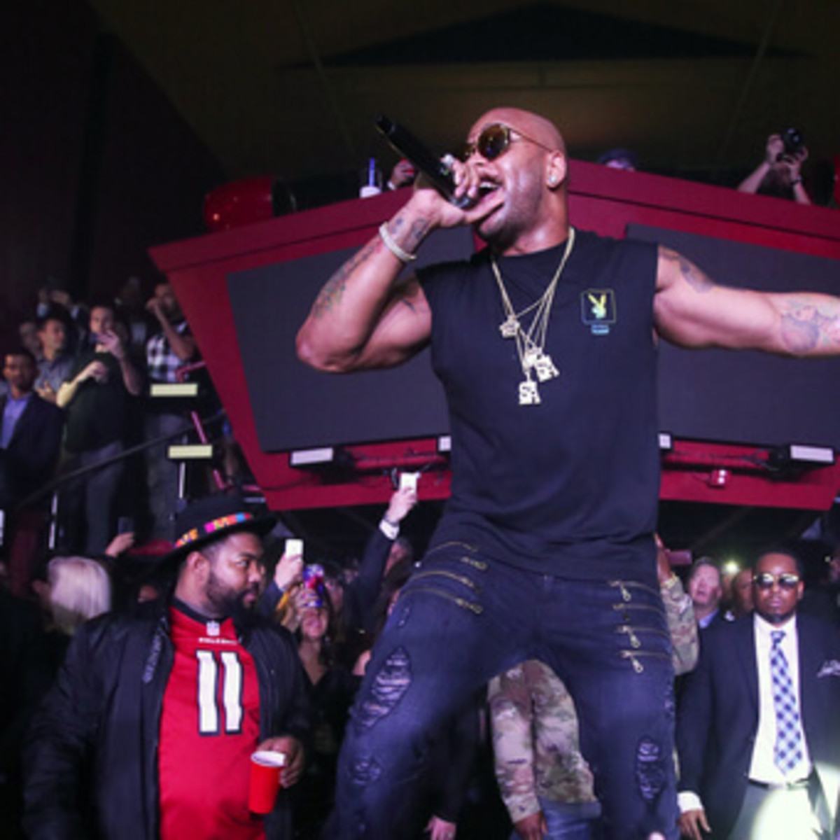 Recording artist Flo Rida performs onstage during the Playboy party