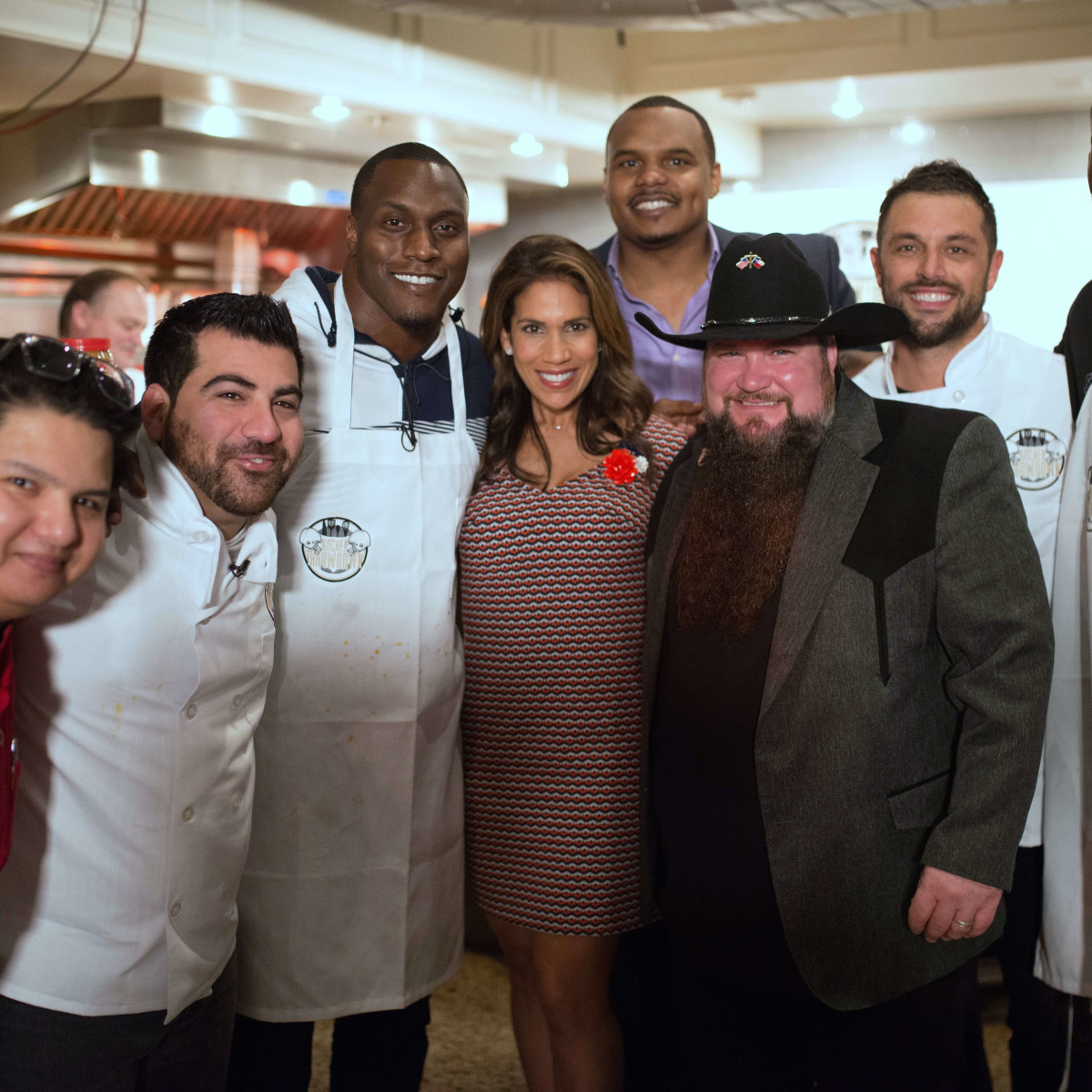 Houston, Kitchen Throwdown with Whitney Mercilus, Jan 2017, Juan Arellano, Kevin Naderi, Takeo Spikes, Rachel McNeill, Chester Pitts, Sundance Head, Sabin Lomac, Whitney Mercilus