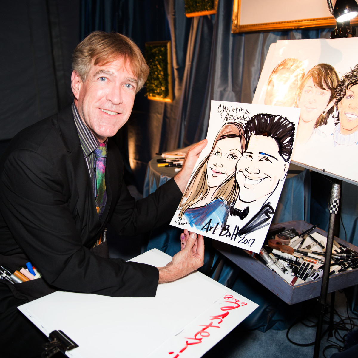 Caricature artist at Dallas Art Ball 2017