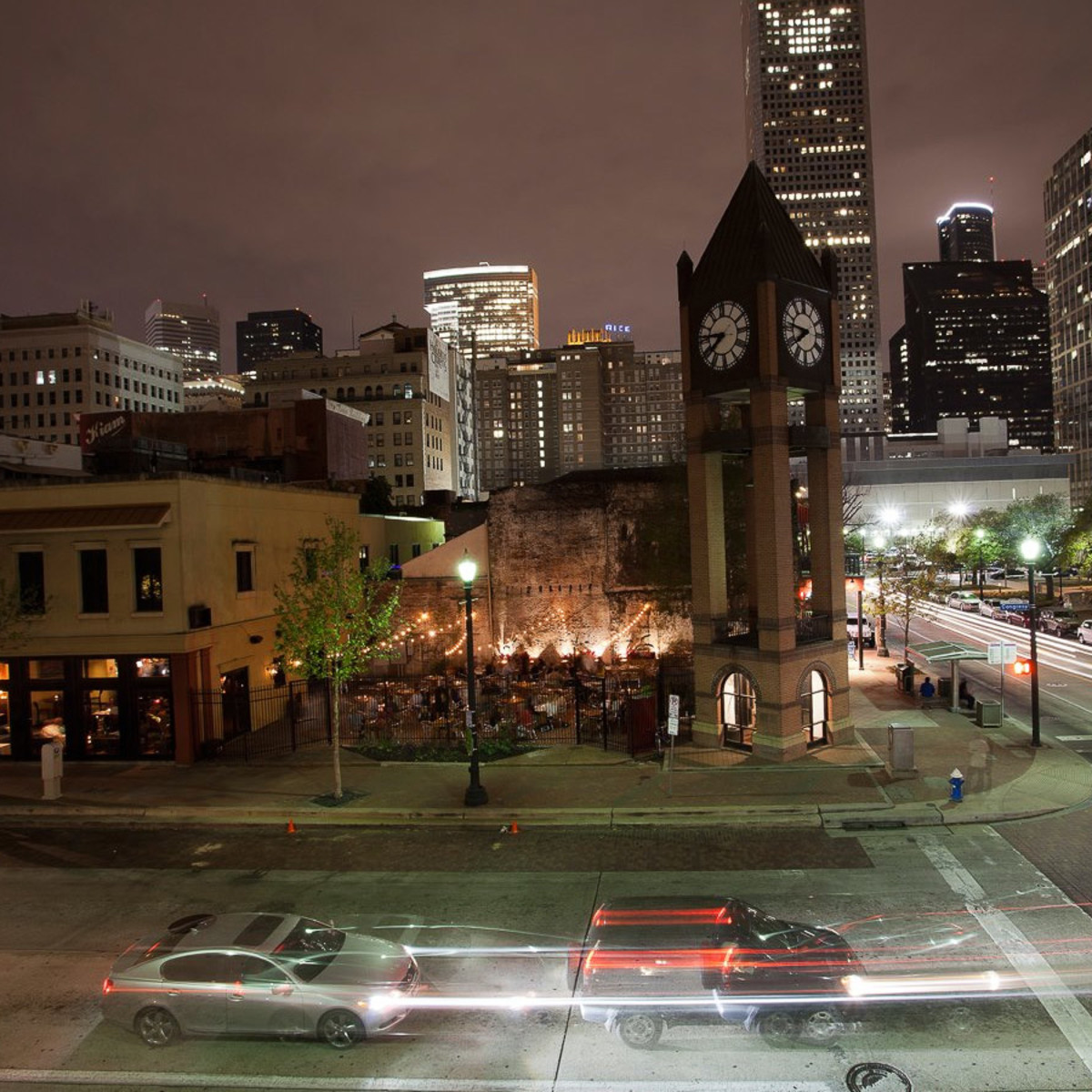 Batanga Houston, patio, night, skyline