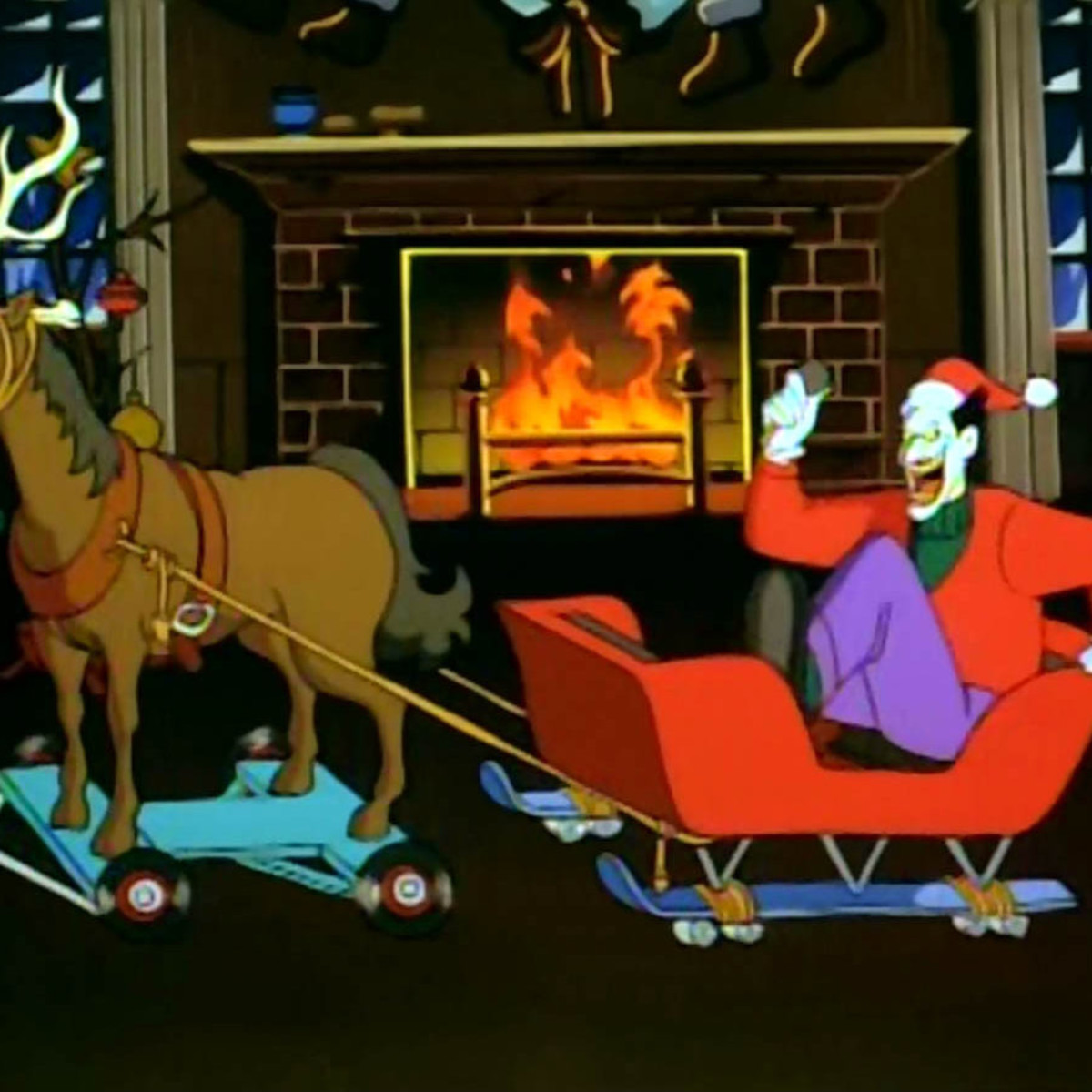 The Joker from Batman: The Animated Series in a sleigh with reindeer