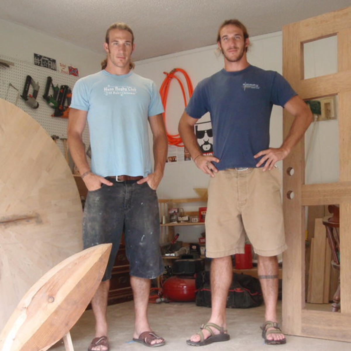 Brian and Craig Welborn of Welborn Woodworking flipping the block