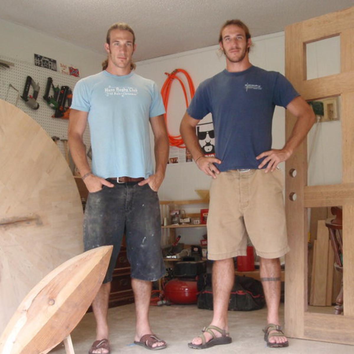 Brian and Craig Welborn of Welborn Woodworking flipping the block