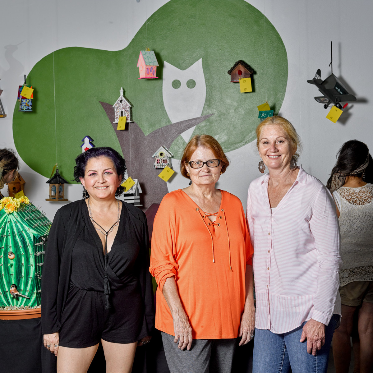 Event chairs Monica Melgar, Janet Roe with Houston Arboretum director Debbie Markey at Sawyer Yards Artist Stroll