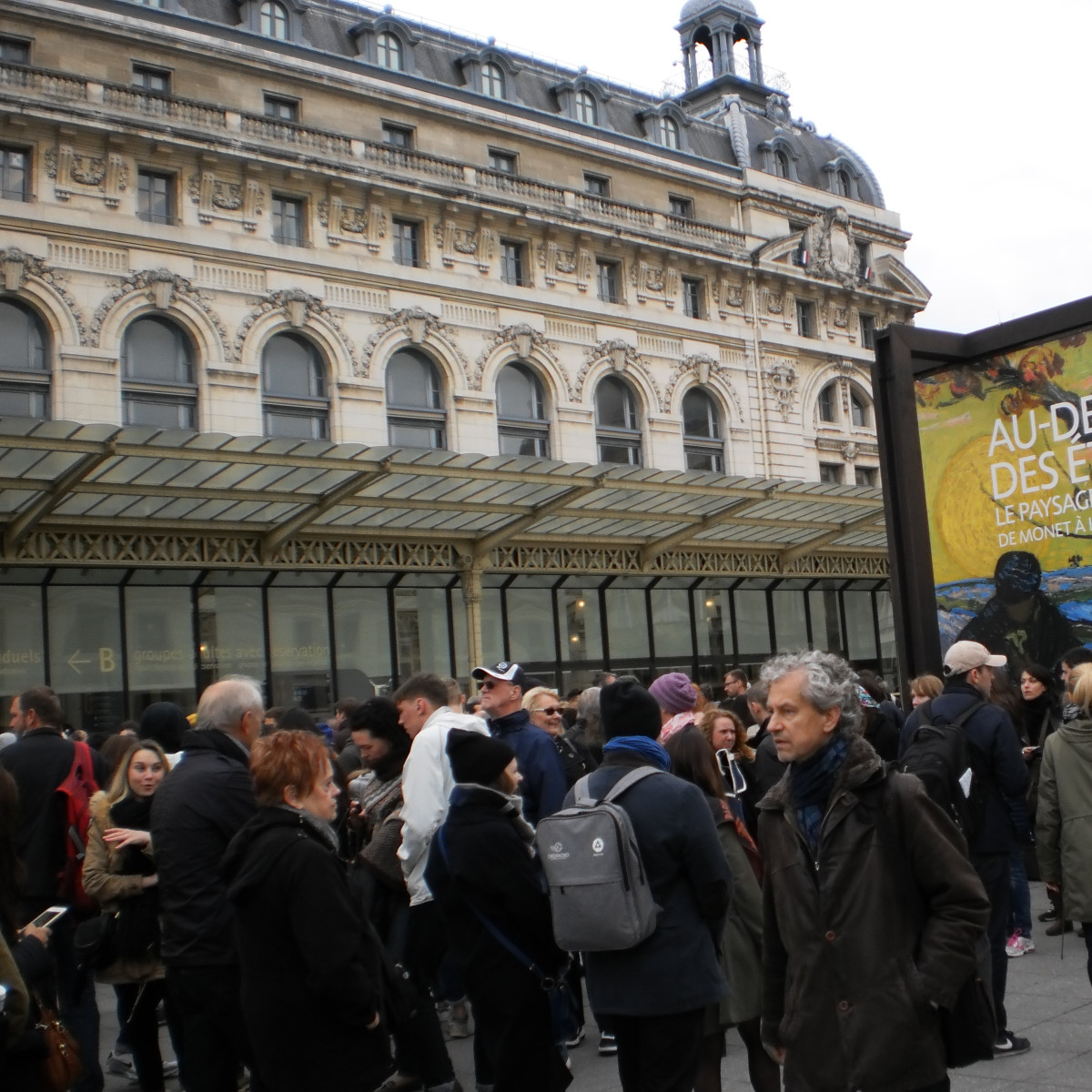 "Crowds in line for tickets to ""Beyond the Stars, the Mystical Landscape from Monet to Kandinsky"" at Musee d'Orsay in Paris"