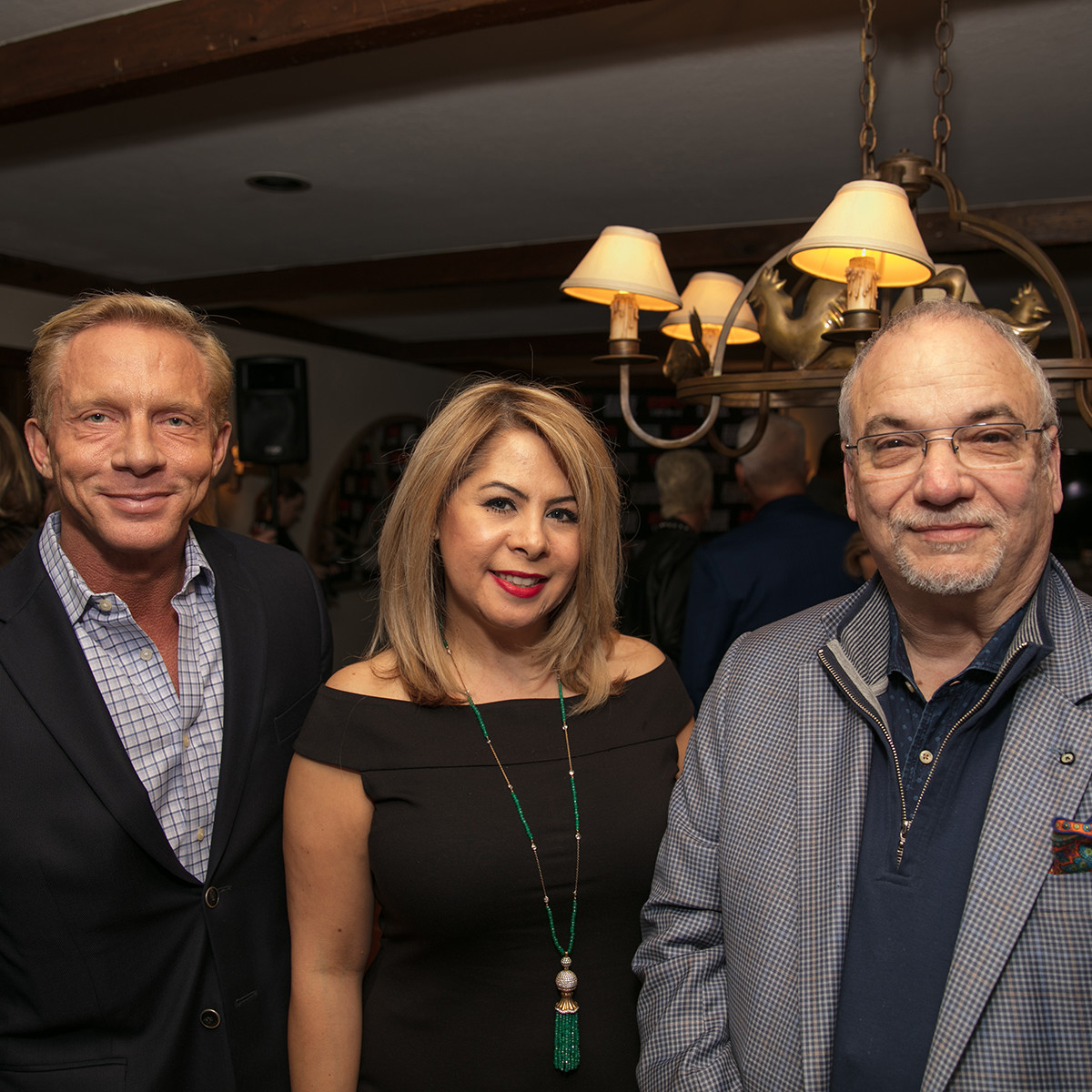 Doug Harris, Esme Perez, Scott Brogan at Big Game Party