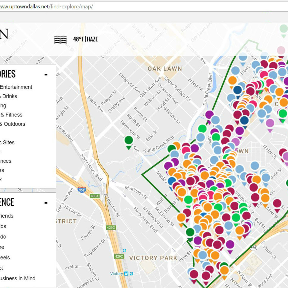Uptown Dallas Inc new website map