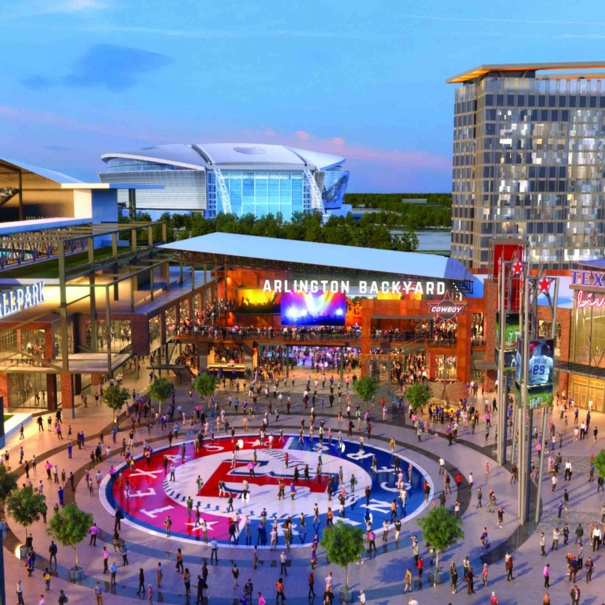 Rendering of Texas Live! development in Arlington
