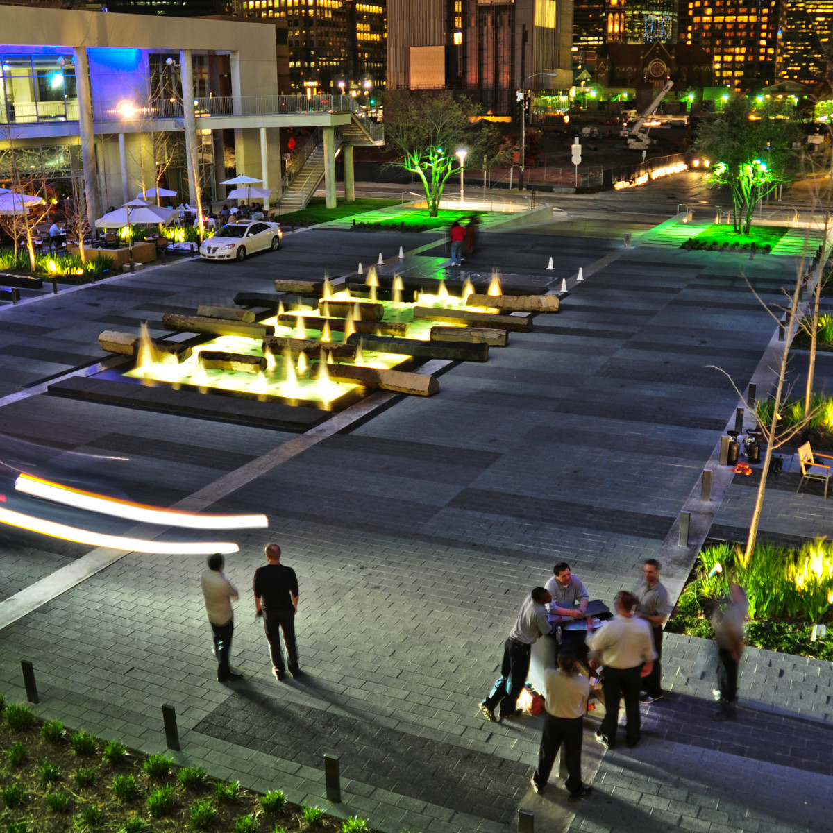 One Arts Plaza at night