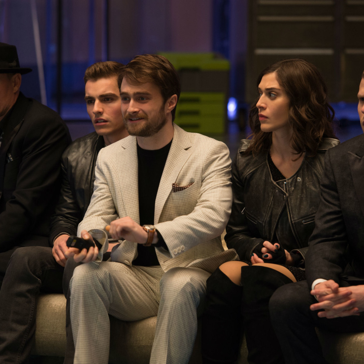 Woody Harrelson, Dave Franco, Daniel Radcliffe, Lizzy Caplan, and Jesse Eisenberg in Now You See Me 2