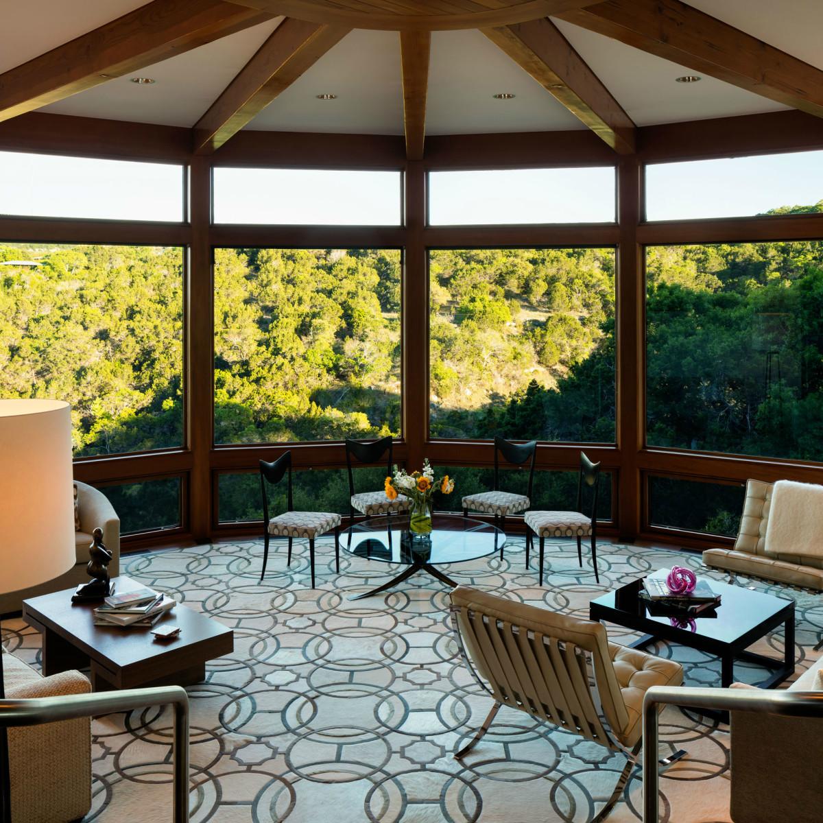 Austin house home 101 Pascal Lane Weslake Rob Roy neighborhood living room windows view