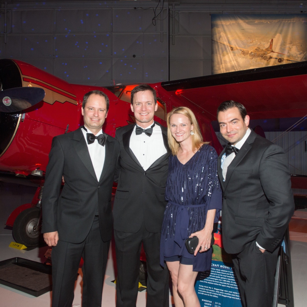 Lone Star Flight Museum gala 5/16 Rene Largo, Patrick Garvey, Morgan Garvey, Mark Schaverien.