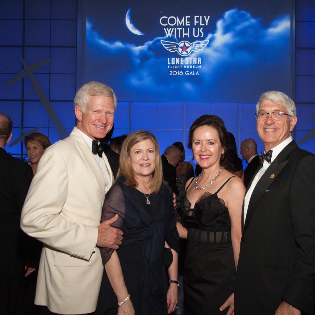 Lone Star Flight Museum gala 5/16 Barry Hunsaker, Linda Hunsaker, Karen Rozzell, Scott Rozzell