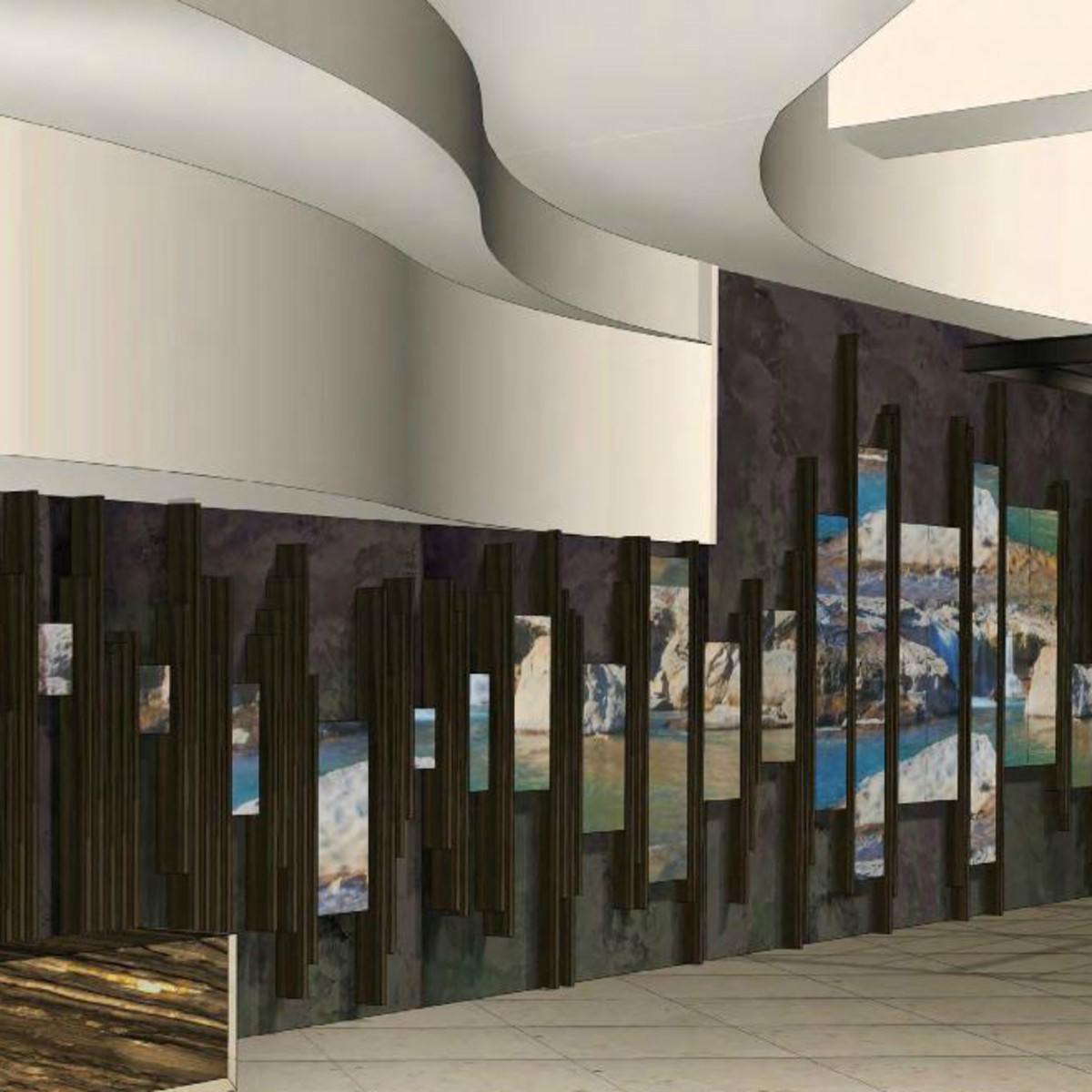 Hilton Austin downtown hotel 2016 renovation rendering lobby digital art wall