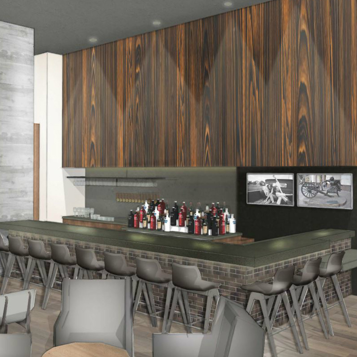Hilton Austin downtown hotel 2016 renovation rendering bar Cannon + Belle