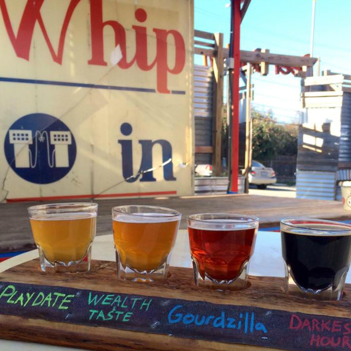 Whip In Austin restaurant bar Deep Ellum Brewing Company flight beer glass