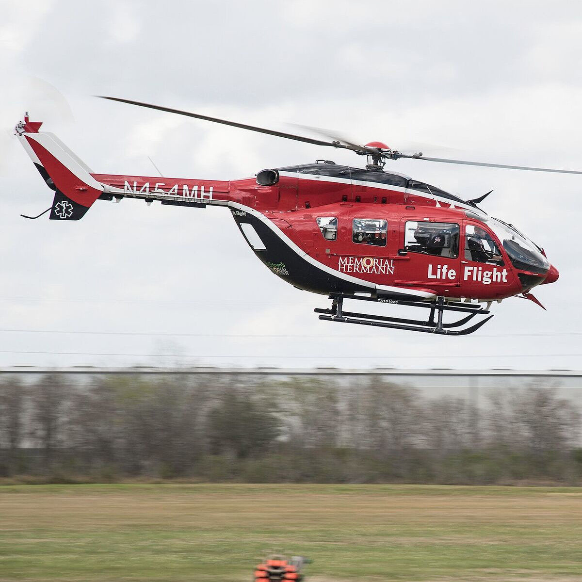 Lifeflight helicopter at Memorial Hermann Clay Shoot
