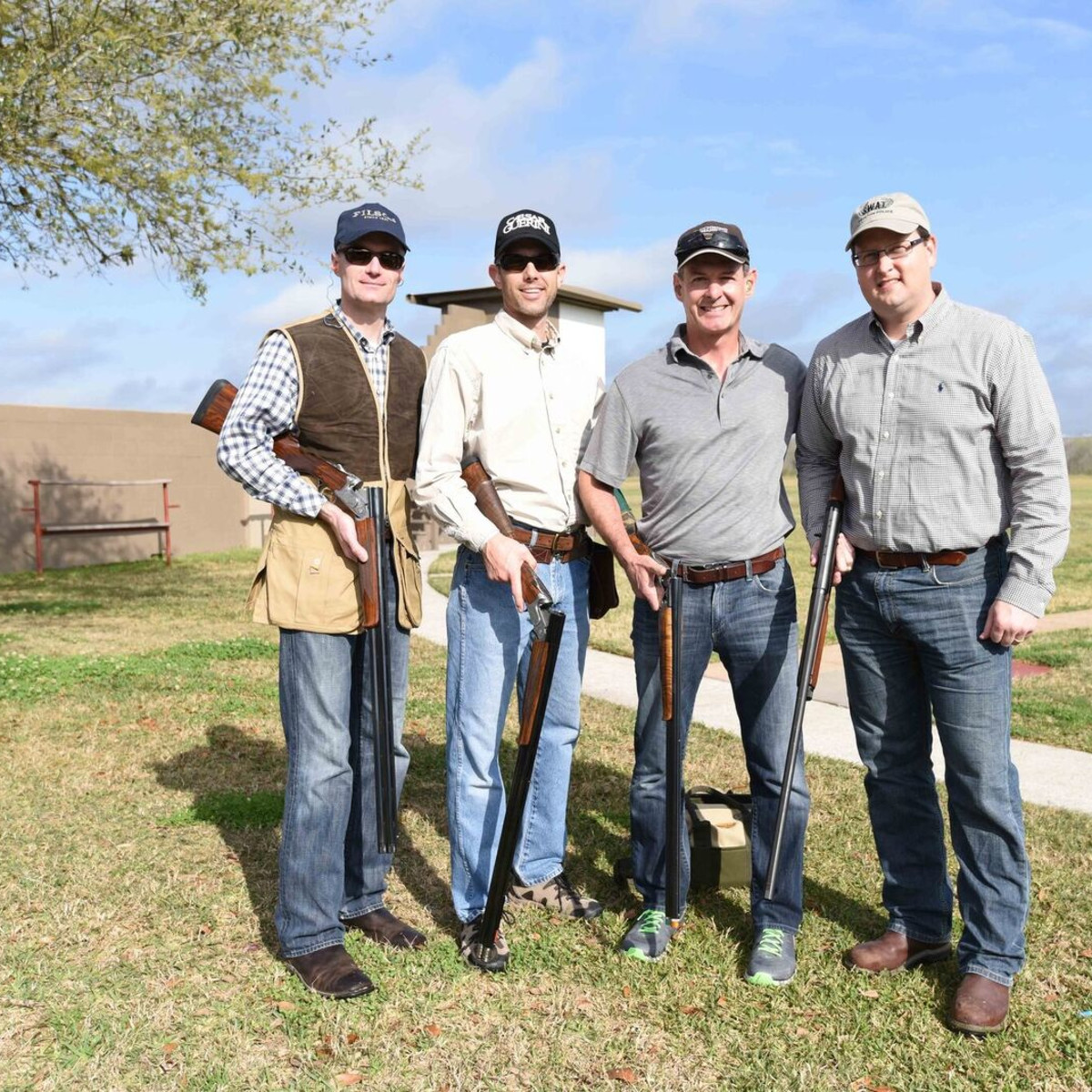 Craig Cordola, Wade Burgess, Scott Breeze, Greg Haralson at Memorial Hermann Clay Shoot
