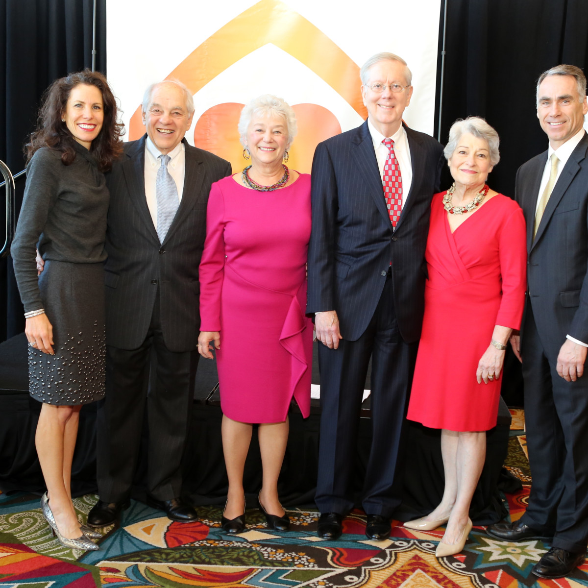 Neighborhood Centers luncheon, Feb. 2016, Gina Luna, Vic Samuels, Bobby Samuels, Darren Walker, Angela Blanchard, Jonathan Day